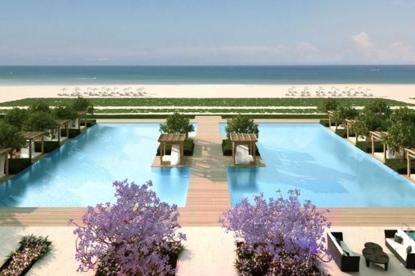 Renderings of the Fendi Chateau Residences Pool in Surfside Miami